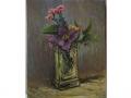 Klince a plamienok v krištáľovej váze / Carnations and clematis in crystal vase
