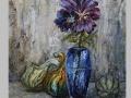 Zátišie s modrou vázou a tekvičkami / Still life with blue vase and pumpkins